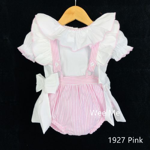 Stunning Baby Girl Spanish Pink Stripe Brace Suit Big Collar Shirt